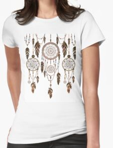 Native American Dreamcatcher Feathers Pattern Womens Fitted T-Shirt