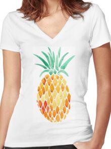Pineapple Print Women's Fitted V-Neck T-Shirt