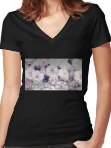 Crystal Castles washed out flowers Women's Fitted V-Neck T-Shirt
