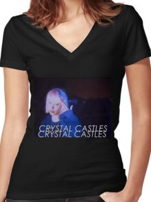 Crystal Castles Alice VHS filter Women's Fitted V-Neck T-Shirt