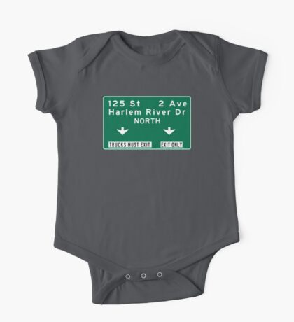 Harlem River Drive, NYC Road Sign, USA One Piece - Short Sleeve