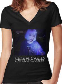 Crystal Castles Alice VHS filter coloradjust 3 Women's Fitted V-Neck T-Shirt