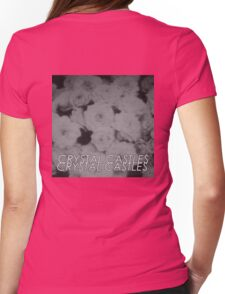 Crystal Castles Washed out flowers black and white Womens Fitted T-Shirt