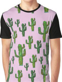 Pink Cactus Print Graphic T-Shirt