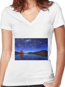 Beneath a jewelled sky Women's Fitted V-Neck T-Shirt