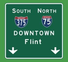 Flint, MI Downtown Road Sign, USA One Piece - Short Sleeve