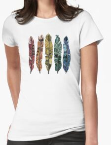 boho rainbow feathers Womens Fitted T-Shirt