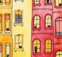 Sunset Townhouse Block Cats Sticker