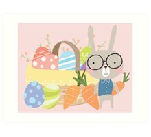 Easter Bunny With Basket of Colored Eggs Art Print