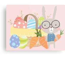 Easter Bunny With Basket of Colored Eggs Metal Print
