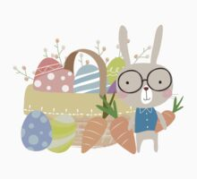 Easter Bunny With Basket of Colored Eggs Kids Tee