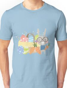 Easter Bunny With Basket of Colored Eggs Unisex T-Shirt