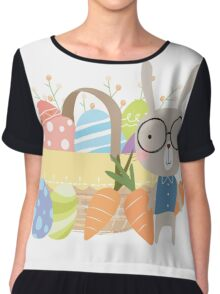 Easter Bunny With Basket of Colored Eggs Chiffon Top