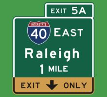 Raleigh, NC Road Sign, USA One Piece - Short Sleeve