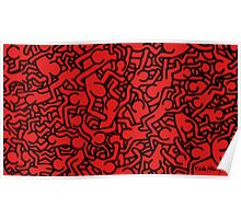 Keith Haring Red Poster
