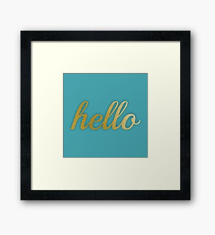 Gold Hello and blue Framed Print