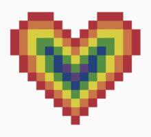 Graphic Pixel Rainbow Heart Kids Tee