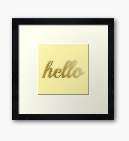 Gold Hello and Yellow Framed Print