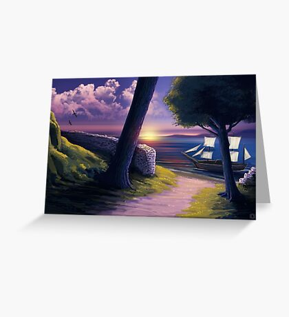 Path to Sunset Sea Greeting Card