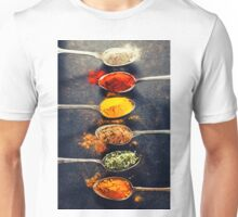 Colorful spices in metal spoons  Unisex T-Shirt