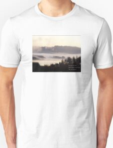 foggy sunrise over the Columbia River 2 with haiku Unisex T-Shirt