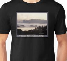 foggy sunrise, Columbia River, Rainier Oregon 2 & haiku  Unisex T-Shirt