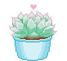 Pixel Cactus Photographic Print