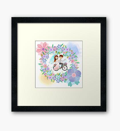 Bride and Groom on Bicycle Floral Wreath Wedding Framed Print