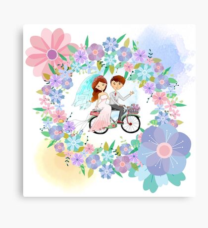 Bride and Groom on Bicycle Floral Wreath Wedding Canvas Print