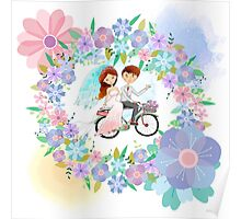 Bride and Groom on Bicycle Floral Wreath Wedding Poster
