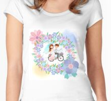 Bride and Groom on Bicycle Floral Wreath Wedding Women's Fitted Scoop T-Shirt