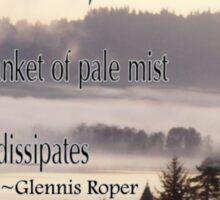 foggy sunrise, Columbia River, Oregon, Haiku Sticker