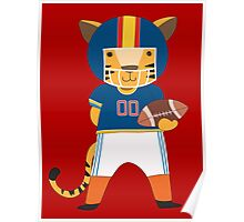 Cartoon Animals Sports Tiger Football Player Poster
