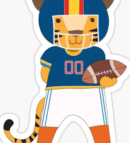 Cartoon Animals Sports Tiger Football Player Sticker