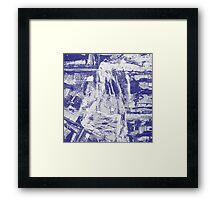 Blue And White Textured Abstract Framed Print