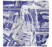 Blue And White Textured Abstract Poster