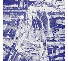 Blue And White Textured Abstract Photographic Print