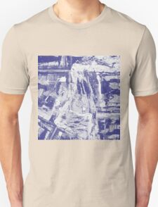 Blue And White Textured Abstract T-Shirt