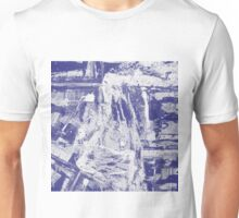 Blue And White Textured Abstract Unisex T-Shirt