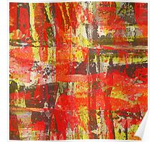 Burning Fire Abstract Painting Poster