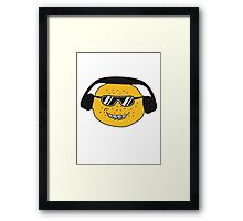 eating lemon delicious sour face sunglasses cool summer headphones music dj party club celebrate discounted Framed Print