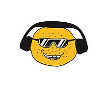 eating lemon delicious sour face sunglasses cool summer headphones music dj party club celebrate discounted Photographic Print