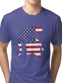michigan state university michigan spartans MSU american flag america Tri-blend T-Shirt