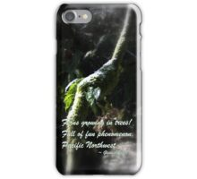 snowy Oregon ferns in trees 2 with haiku iPhone Case/Skin