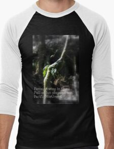 snowy Oregon ferns in trees 2 with haiku Men's Baseball ¾ T-Shirt