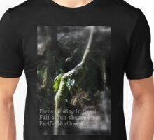 snowy Oregon ferns in trees 2 with haiku Unisex T-Shirt