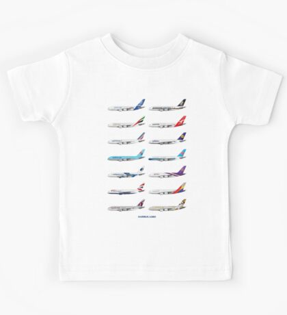 Airbus A380 Operators Illustration - Blue Version Kids Tee