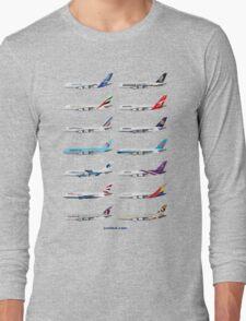 Airbus A380 Operators Illustration - Blue Version Long Sleeve T-Shirt
