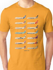 Airbus A380 Operators Illustration - Blue Version Unisex T-Shirt