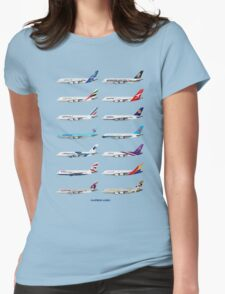 Airbus A380 Operators Illustration - Blue Version Womens Fitted T-Shirt